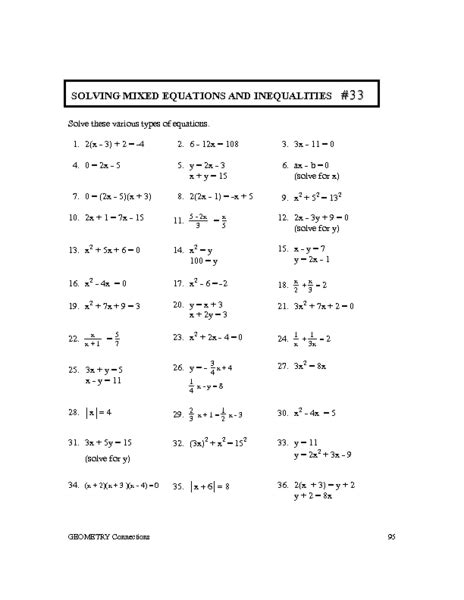 Equation And Inequalities Worksheets by Worksheets Linear Equations And Inequalities Worksheet