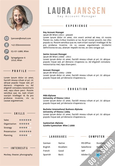 cv layout with photo cv template vienna go sumo cv template