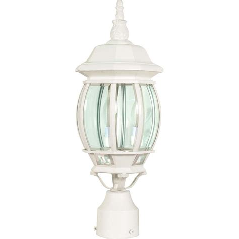 Glomar Central Park 3 Light White Outdoor Post Lantern White Outdoor Light Fixtures