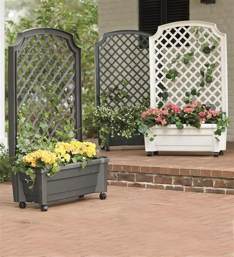 self watering planter trellis planters plow hearth