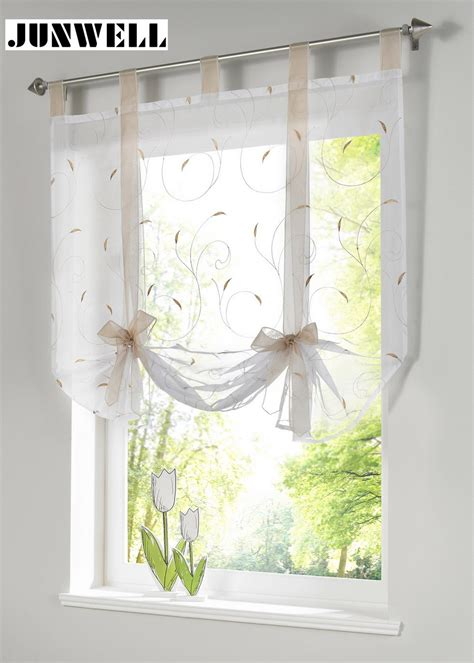 Sheer Kitchen Window Curtains Shade European Embroidery Style Tie Up Window Curtain Kitchen Curtain Voile Sheer Tab Top