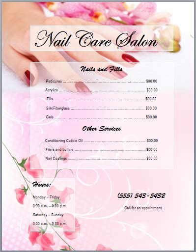 Nail Services Salon Price List Template Printable Templates Desing Nails Pinterest Nail Pedicure Menu Template