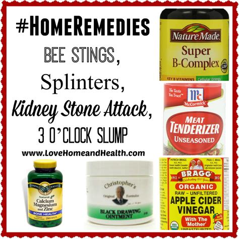 home remedies bee stings splinters kidney attack