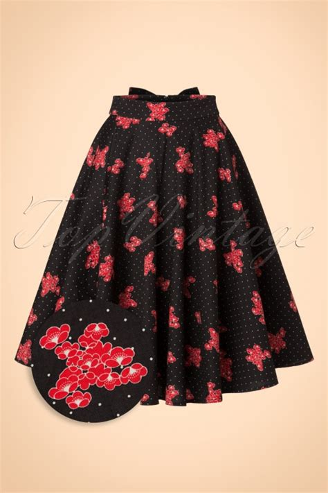 Skirt The Typical Day Swing The Usual Days Pv 0117015 50s geishas garden swing skirt in black
