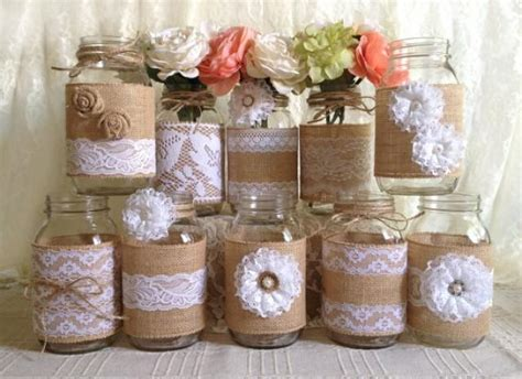 all themes 1 0 10 jar 10x rustic burlap and white lace covered mason jar vases