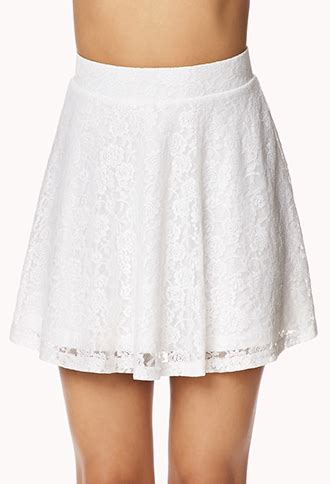 Forever21 Zipper Lace Skirt Branded forever 21 lace skater skirt in white lyst