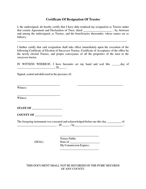 certification letter of resignation resignation letter format top trustee resignation letter