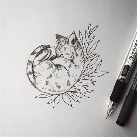 tattoo cat drawing plants decorating ideas pictures to pin on pinterest