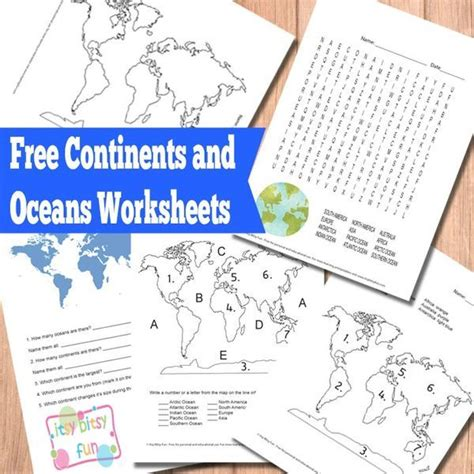 continents  oceans worksheets  printable