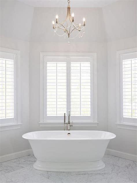 master bath bay window tub  chandelier transitional