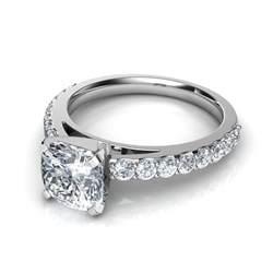 Engagement Rings Cushion Shared Prong Cushion Cut Engagement Ring