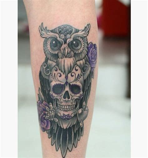 skull and roses tattoo meaning collection of 25 owl with sugar skull and roses