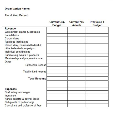 organizational budget template sle non profit budget template 6 free document