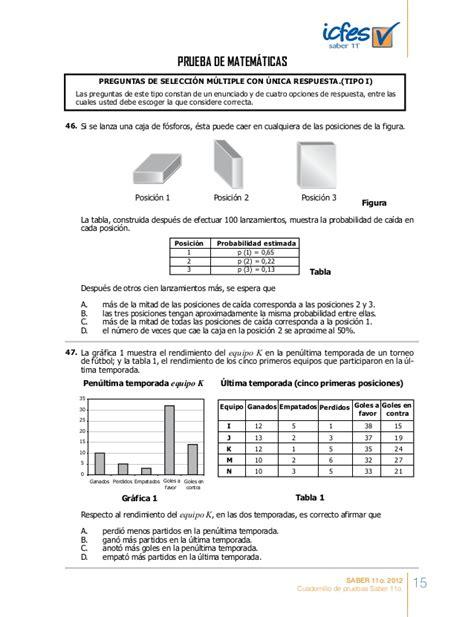 cuadernillo de entrenamiento icfes saber 11 preguntas y - Preguntas Icfes Matematicas 11