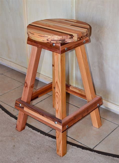 backless wooden bar stool custom made redwood stools