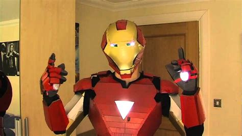 How To Make Iron Suit Out Of Paper - iron costume with working lights and sliding