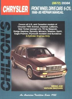 motor auto repair manual 1995 chrysler new yorker auto manual 1988 1995 all 6 cyl chrysler brands front wheel drive cars chilton manual