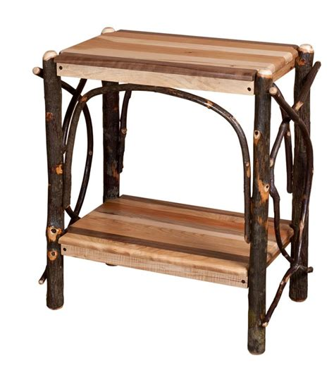 Wooden End Tables Amish Rustic Cabin Mixed Wood End Table