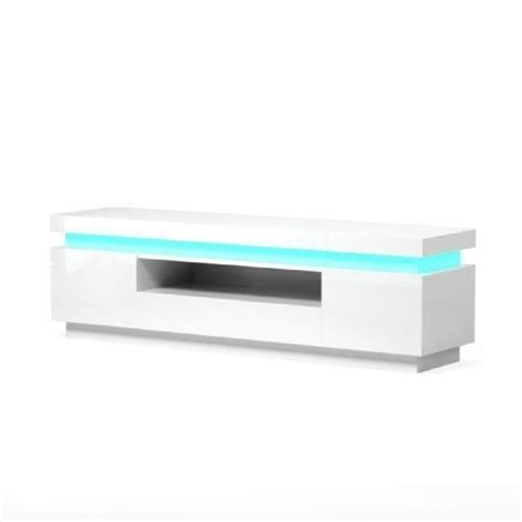 FLASH Meuble TV contemporain avec LED laqué blanc brillant