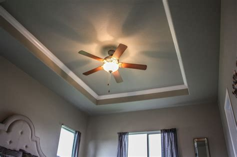 How To Make A Tray Ceiling With Crown Molding Tray Ceiling With Crown Molding Craftsman Bedroom