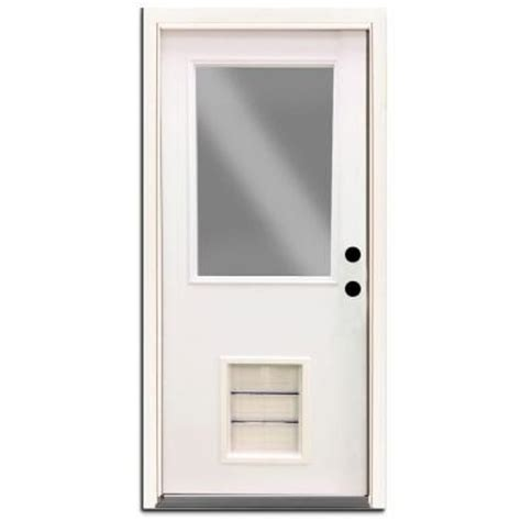 Exterior Doors With Pet Door Steves Sons 32 In X 80 In Premium Half Lite Primed White Steel Prehung Front Door With Large