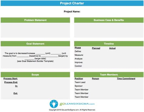 non profit charter template project charter six sigma project charter projects