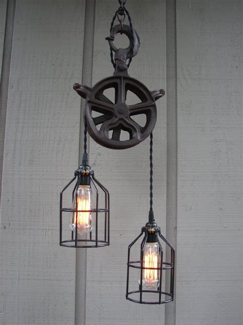 Industrial Pulley Pendant Light Reserved For Vintage Industrial Pulley Lighting
