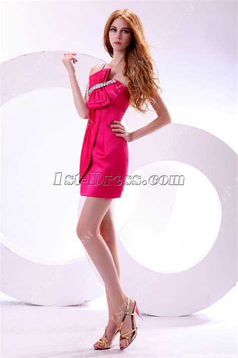 One Shoulder Hot Pink Hottest Club Dresses:1st dress.com