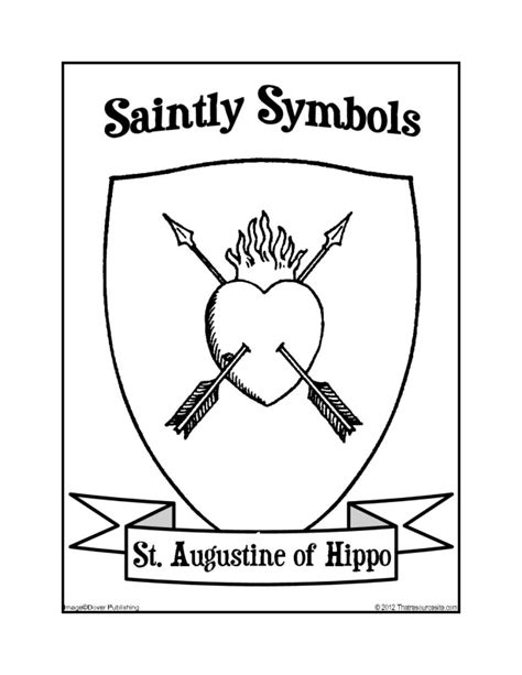 saintly symbols of st augustine of hippo coloring sheet