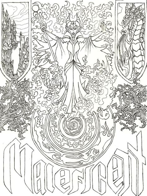 coloring pages adults tumblr maleficent s evil spell by liakahi d5exd67 jpg 773 215 1033