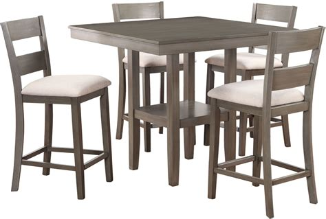 counter height dining room furniture loft weathered grey 5 piece counter height dining room set