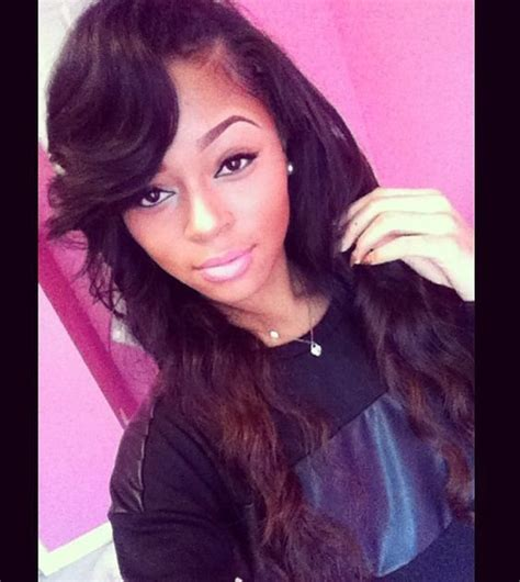 side bang weave deep side part weave hair styles pinterest her hair