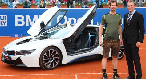 andy murray drives in an i8 after winning 2015 bmw open