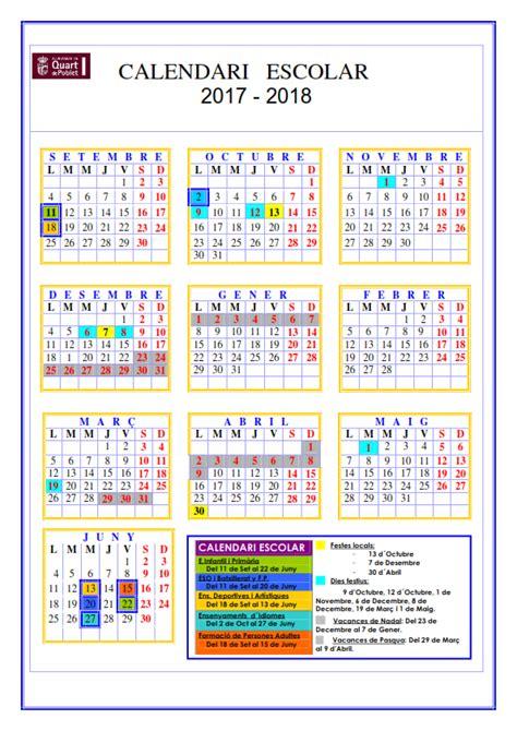Calendario 2018 Valencia Calendiario Escolar 2017 2018 Educaci 243