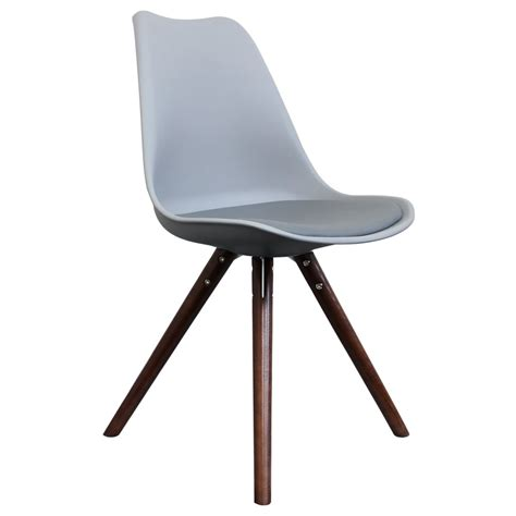only design grey dining chair with pyramid style walnut