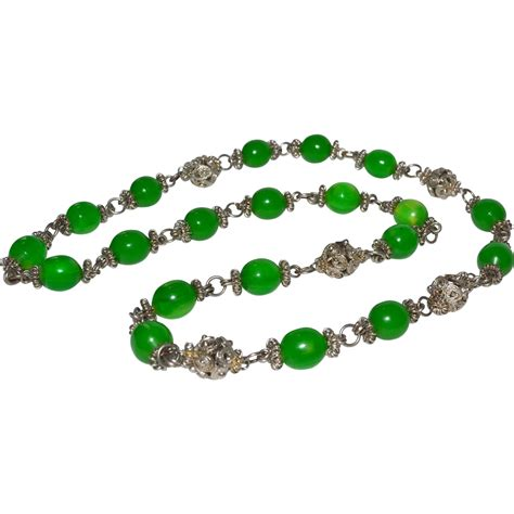 green bead necklace emerald green peking glass bead necklace from