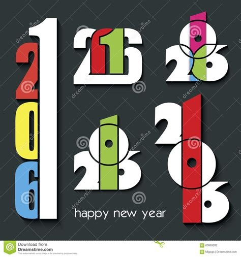 new year s creative numerology 2016 happy new year set of creative numbers combination