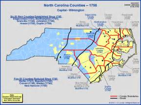 the royal colony of carolina counties as of 1750
