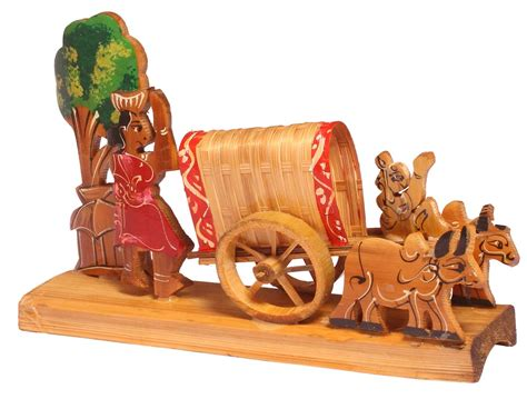 decorative showpiece of a bullock cart handcrafted in