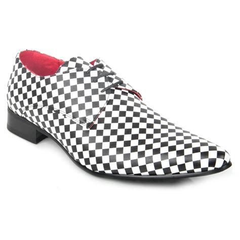 mens funky black and white checked shoes fancy jazz