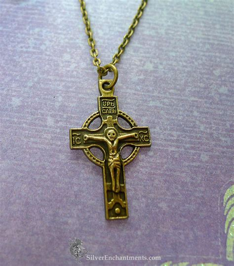 bronze orthodox cross necklace sided crucifix