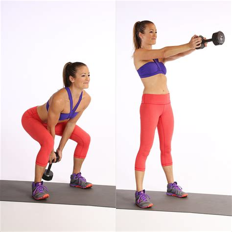 Kettlebell Swings With Dumbbell circuit one dumbbell swing this printable circuit workout tones every inch popsugar fitness