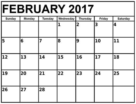 Calendar Template For February 2017