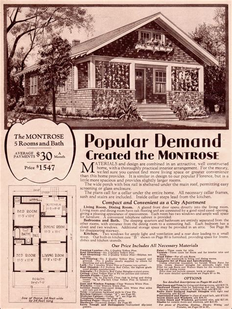1930 Simple Bungalow Wardway Kit Homes Montrose By Montgomery Ward House Plans