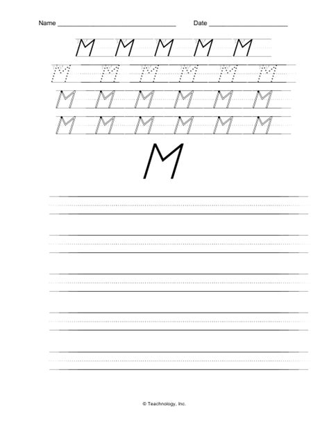 printable handwriting worksheets d nealian d nealian manuscript upper case letter m handwriting worksheet