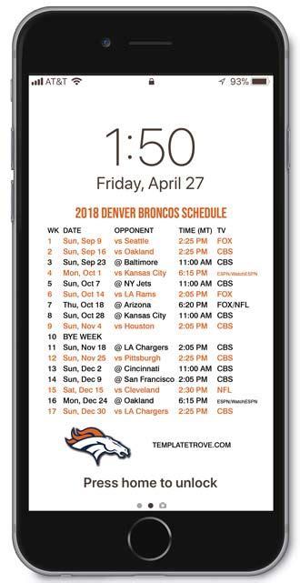 denver broncos lock screen schedule  iphone