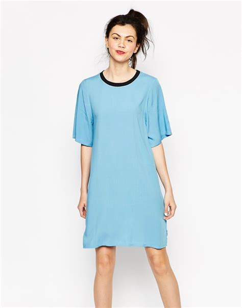 light blue t shirt dress lyst monki t shirt dress in blue