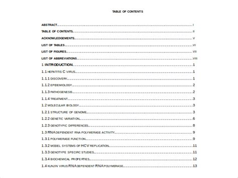 word report template with table of contents order of contents for dissertation
