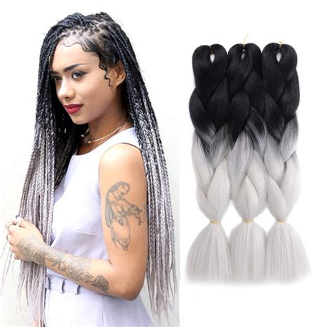 kanekolan hair black white grey amazon com jiameisi two tone ombre jumbo braid hair