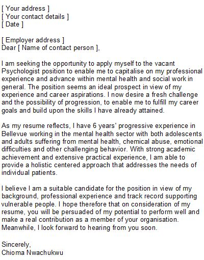 psychologist covering letter sle